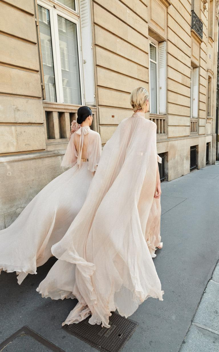 Nude chiffon capes for days Galia Lahav - and god created woman