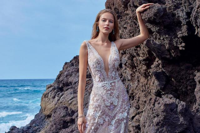 galia lahav wedding gown on ocean cliff